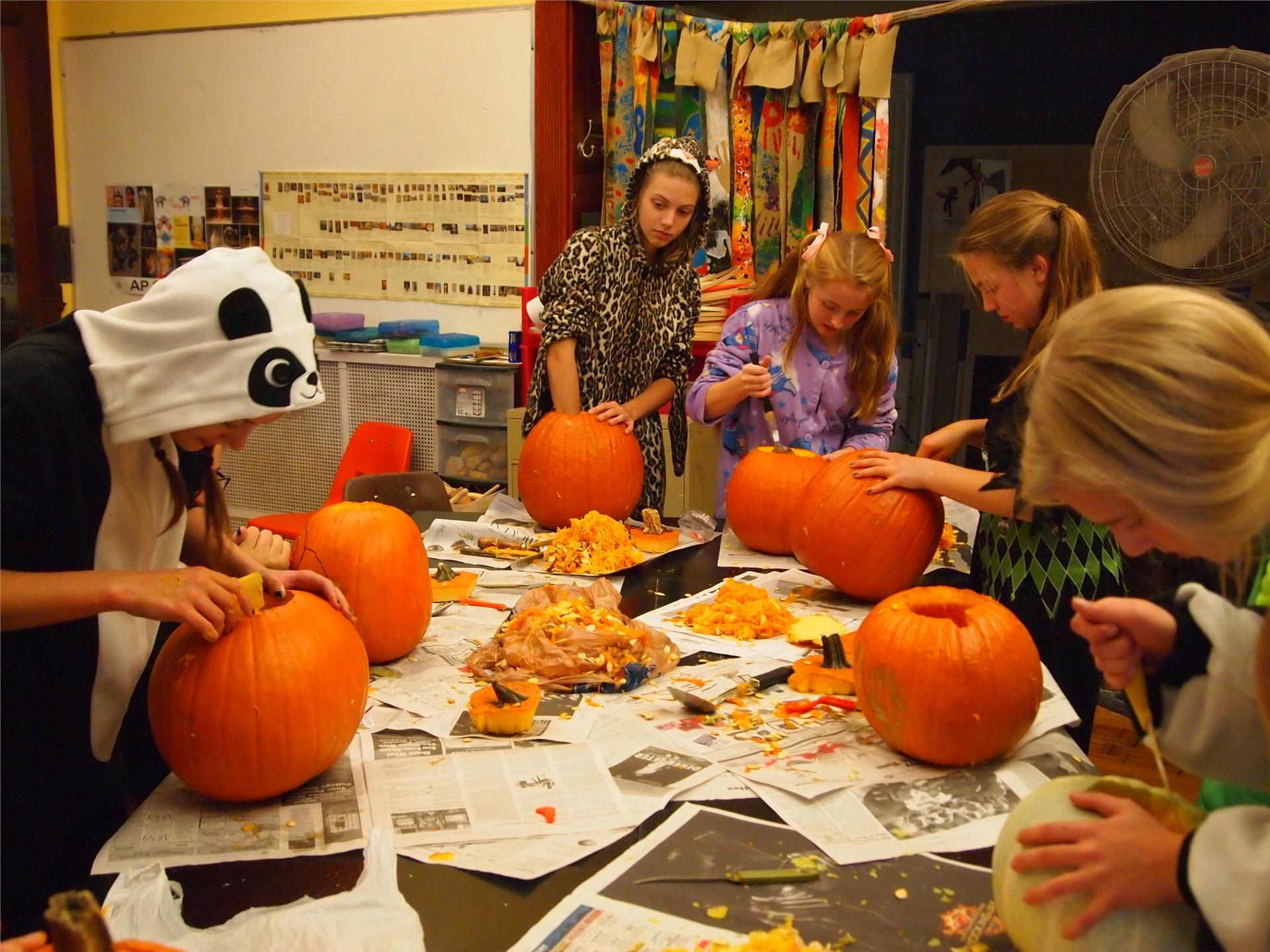 Pumpkin Carving in Art Class