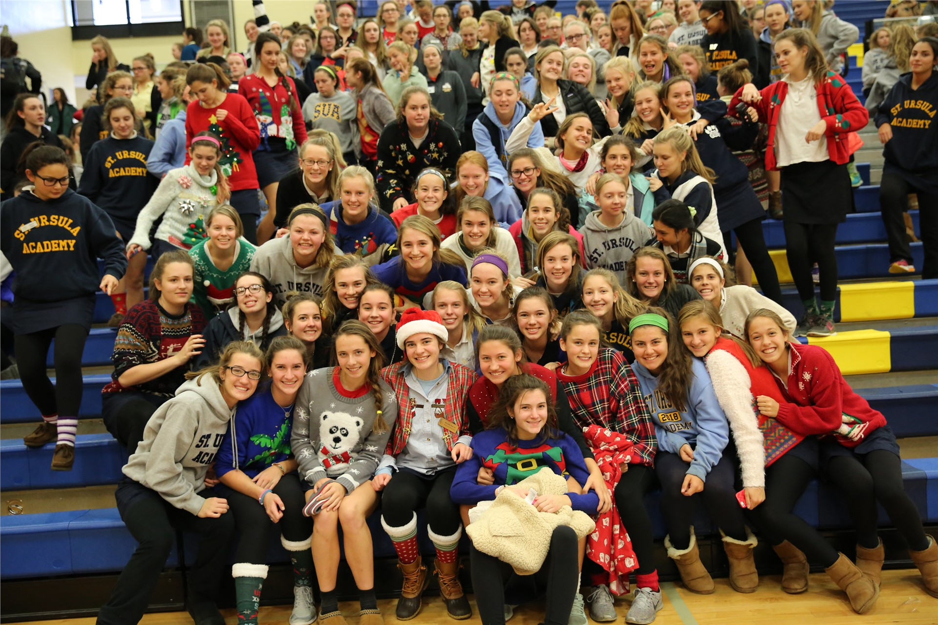 Fun sweaters for everyone during the Winter Pep Rally!