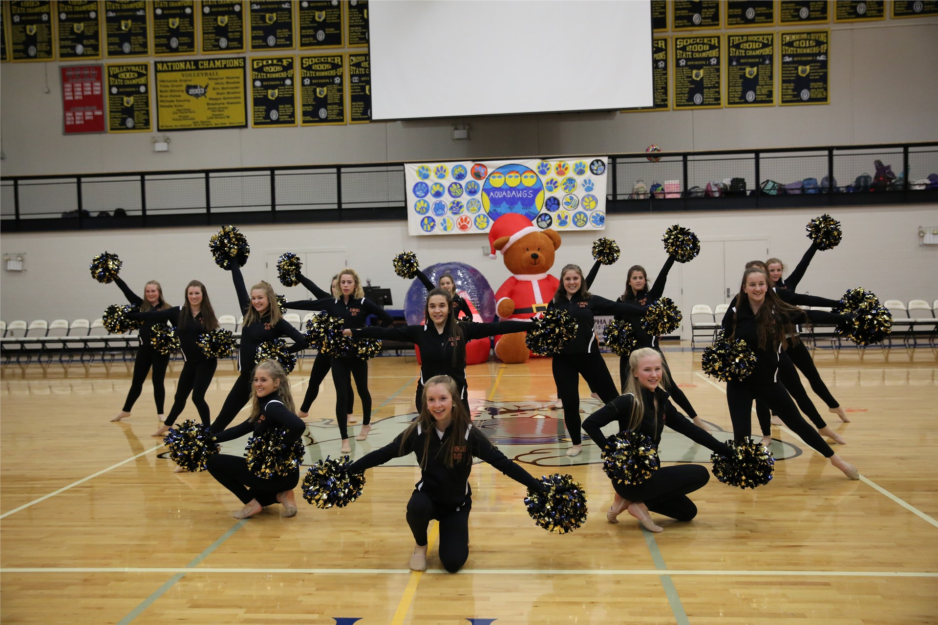 The SUA Dance Team gave a sneak-peek performance of their Ben-Gals routine
