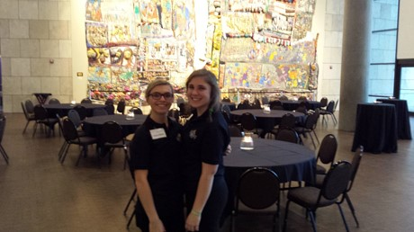 Maddie Brennan and Marjorie Anderson volunteered at an event remembering the liberation of Auschwitz