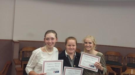 Mock Trial Awards: Carolyn Markley-Best Atty, Sarah Crowley-Best Witness, Mae Rosenthal-Best Witness