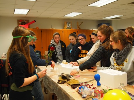Mr. Strubbe's Honors Physics Students Learn from a Demonstration by UC Physics Students