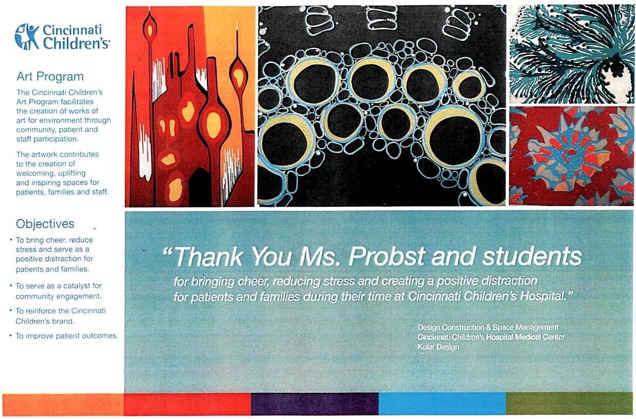 Cincinnati Children's Hospital supports the SUA Art Program