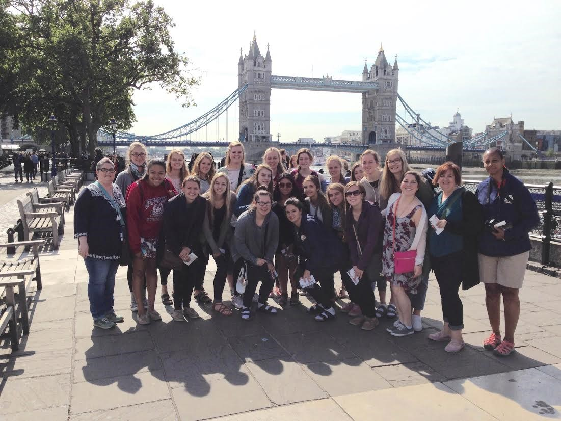 SUA students and teacher Ms. Corder in London as they visit 7 countries in 17 days