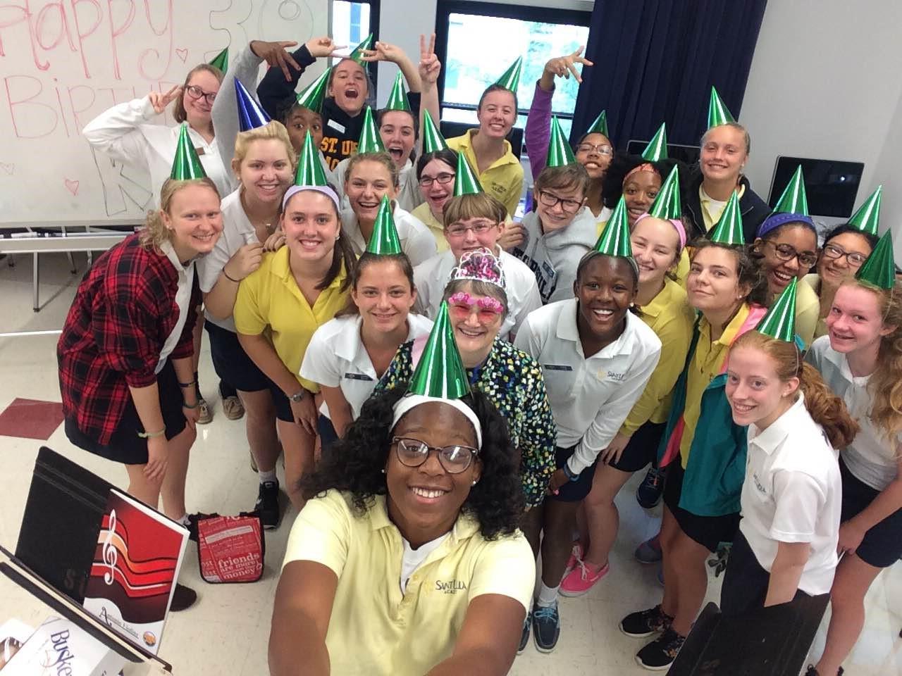 SUA students celebrate beloved teacher Kathy Backherms' birthday!