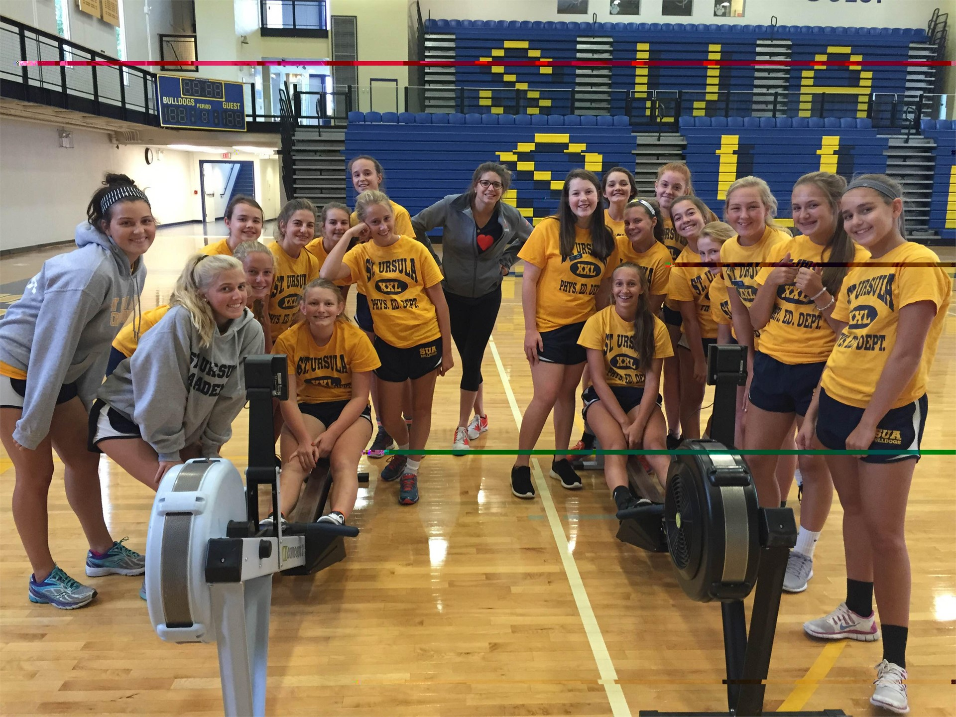 Alumna and Cincy Jr. Rowing Club Coach Ruth brings rowing to SUA gym class!