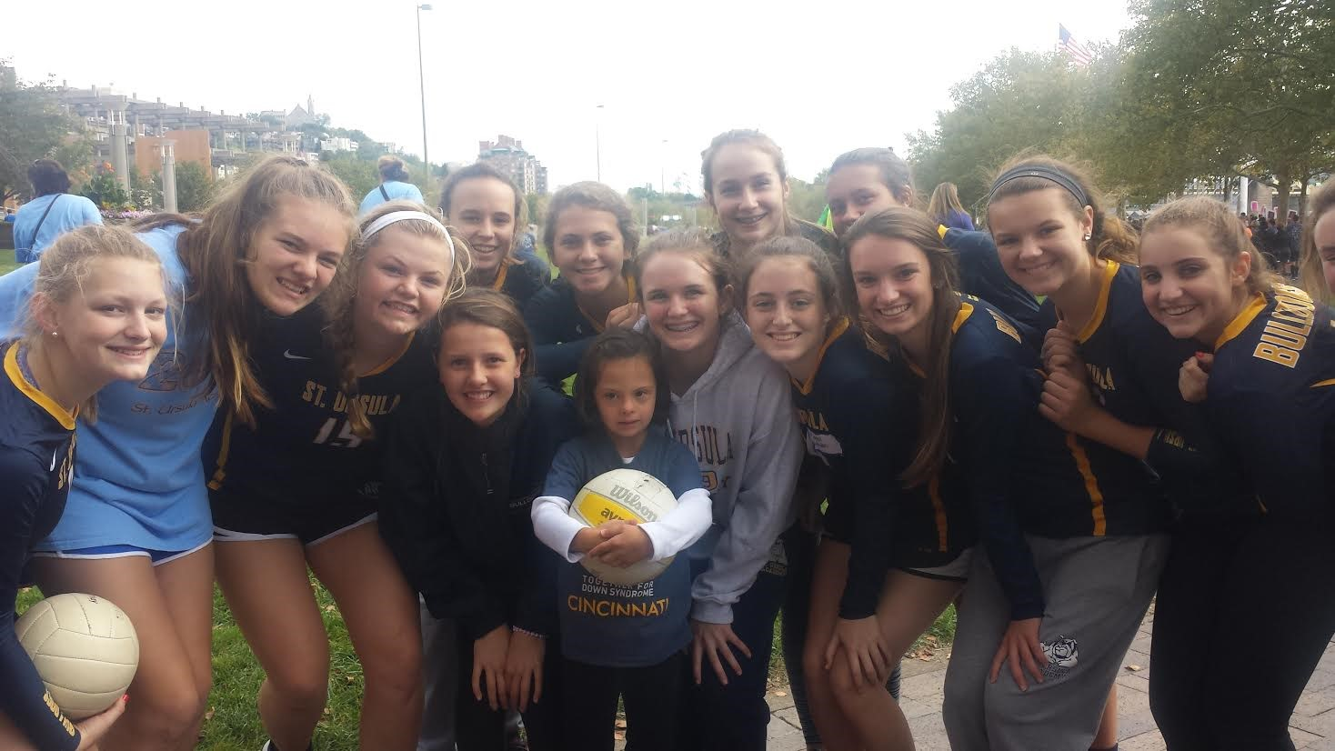 The Saint Ursula Volleyball Team volunteered at the Buddy Walk at Sawyer Point