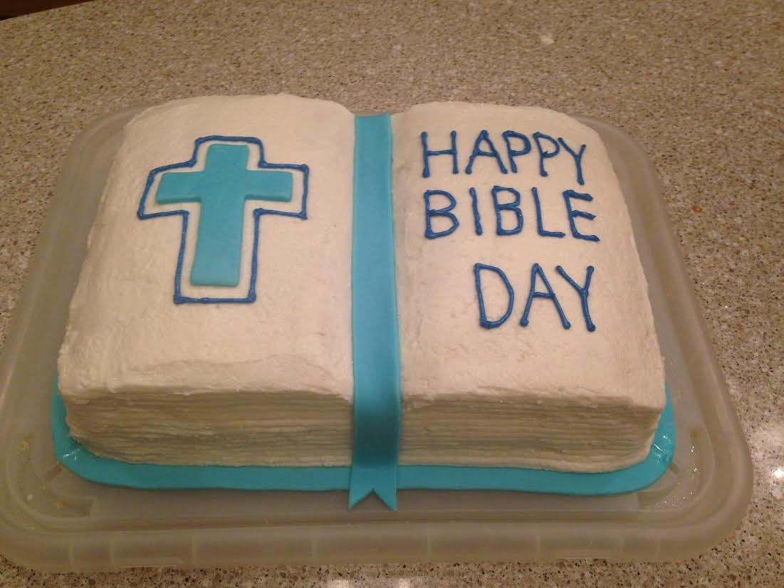 Freshman Ally Landrum made this cake for her religion class to celebrate upcoming Bible week.