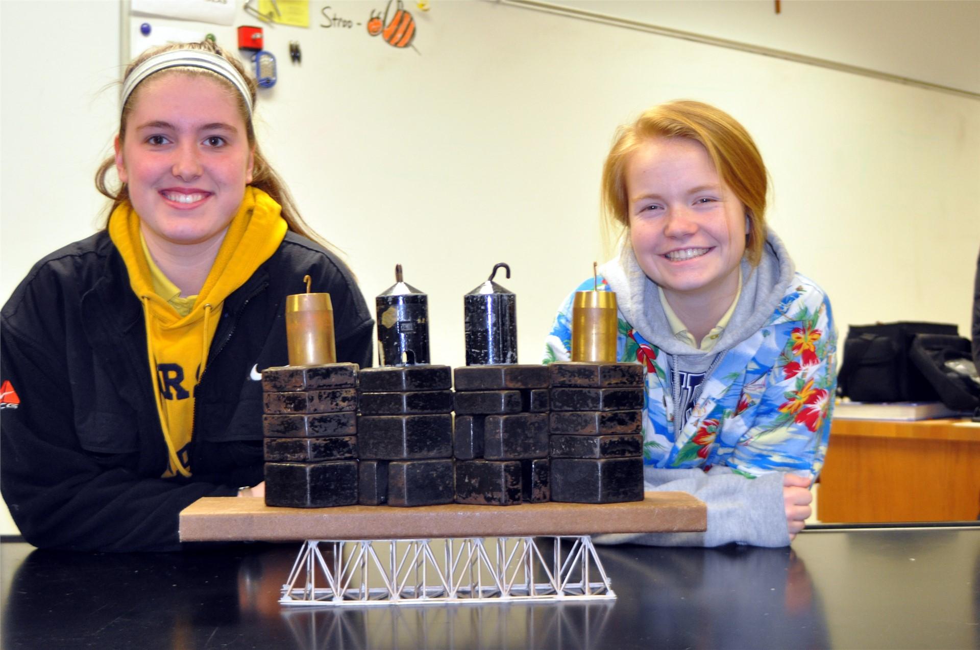 Mr. Strubbe's Engineering class built toothpick bridges.  Each bridge held at least 66 pounds!