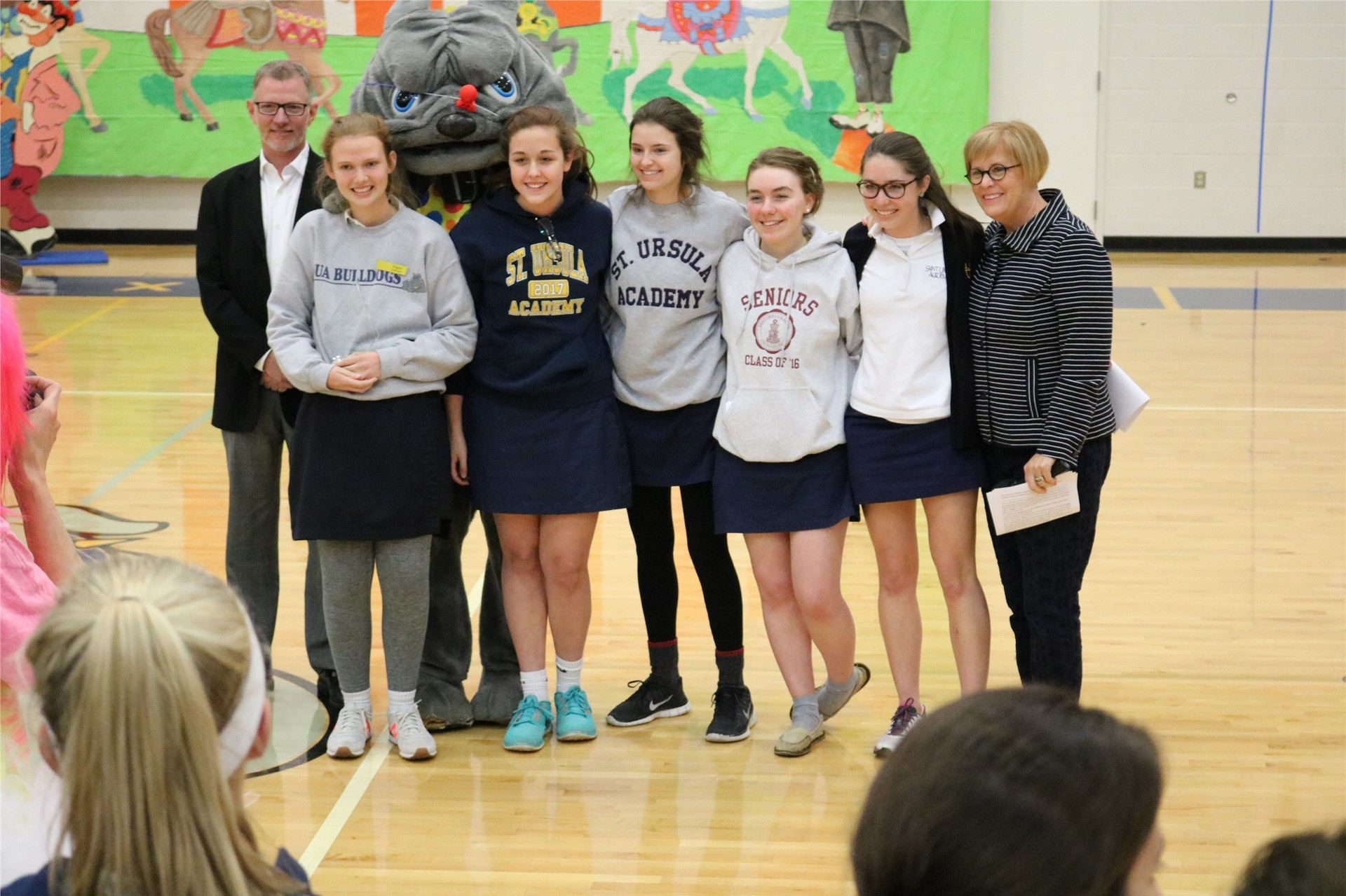 Senior Maggie Sullivan wins the Respect the Game of Life Award at SUA Pep Rally