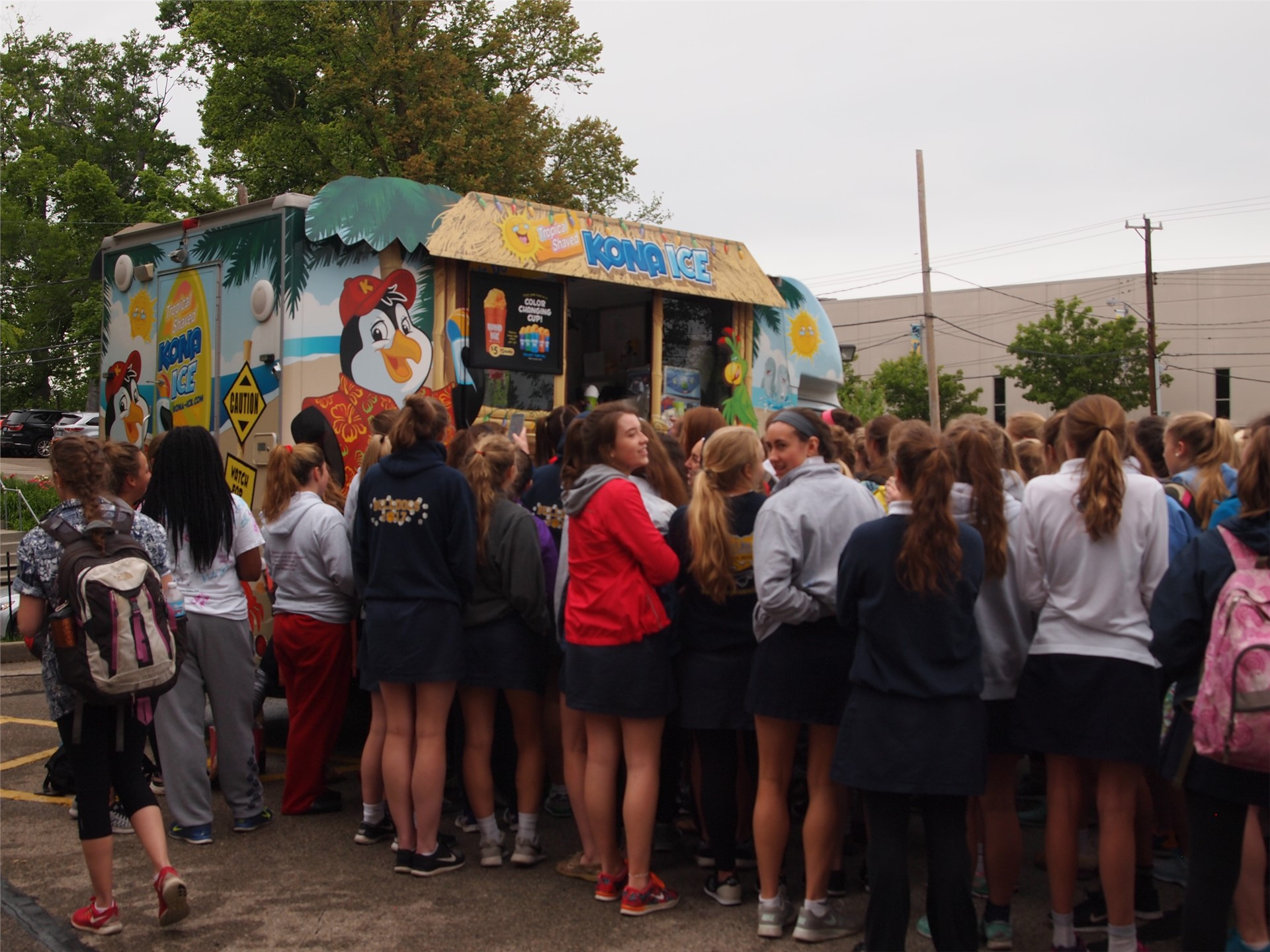 Senior Prank Day!  Seniors arranged for Kona Ice to visit school for all to enjoy!