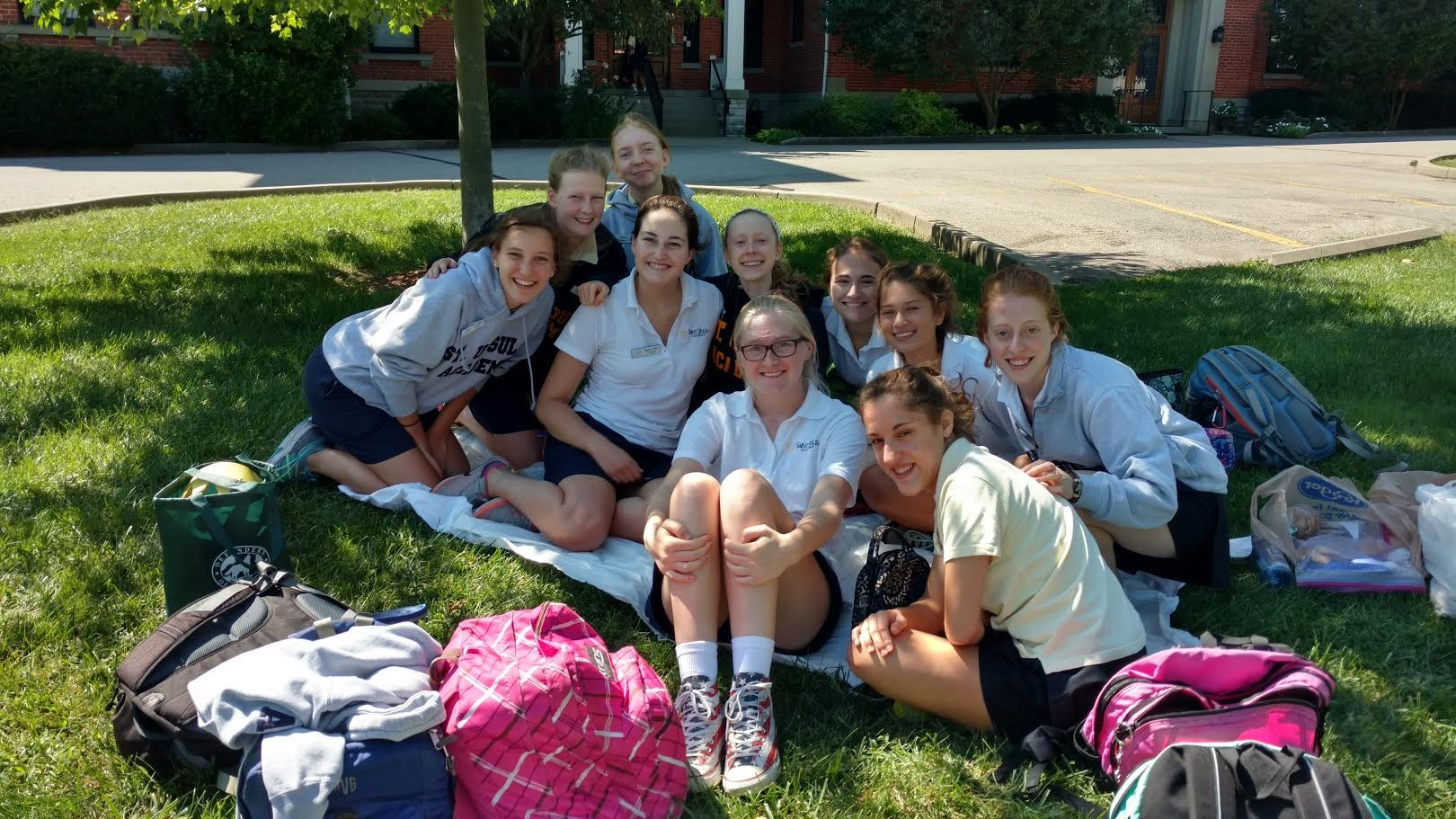 Girls are enjoying the cooler weather all across the Saint Ursula campus!