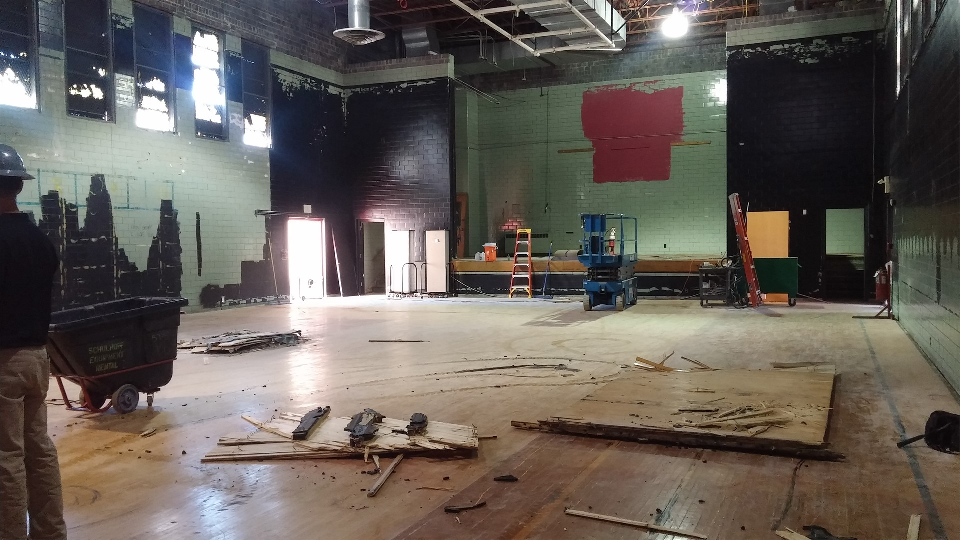 Pieces of the gym floor that have been removed in the gutted theater