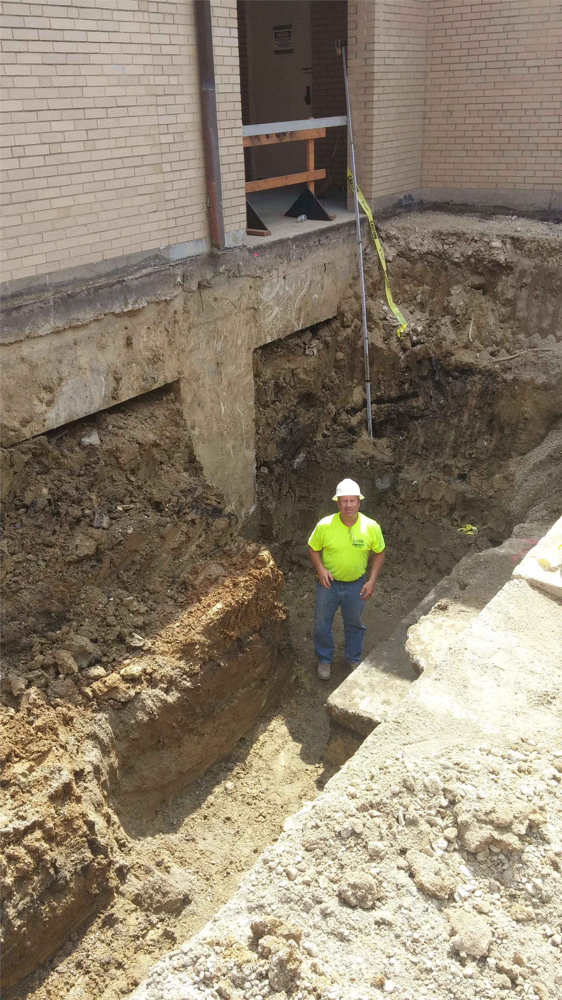 """Hole for the foundation to the theater """"changing room"""" addition"""